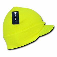 Neon Yellow Solid Campus Visor Jeep Skull Knit Winter Beanie Cap Caps Hat Hats