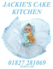 BLUE BABY BOYS 1ST BIRTHDAY OR CHRISTENING CAKE TOPPER DECORATION DESIGN B1