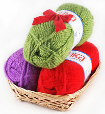 CHUNKY YARN KNITTING  GIFT SET IN BASKET (3 yarns - mohair/polyester). Brand New