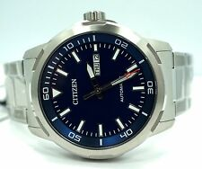New Citizen Stainless Steel Day Date Automatic Blue Dial 44mm Watch NH8370-86L