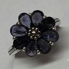Estate Natural 6ct Iolite 925 Solid Sterling Silver Solitaire Flower Ring sz 7