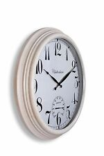 """Large Metal Outdoor Garden Wall Clock Thermometer  24 """" 61cm cream colour 1044"""