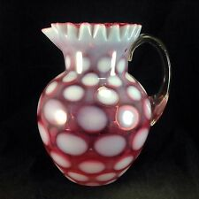 Fenton Coin Dot Cranberry Red Ruffled Rim Lemonade Pitcher Jug Glass Vintage