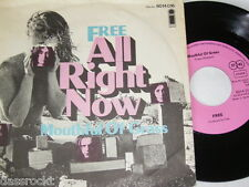 """7"""" - Free / All right now & Mouthful of Grass - Pink Island First Press # 1010"""