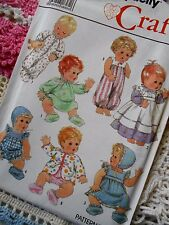 """Simplicity Sewing Pattern 9144 Vintage Baby Doll Clothing 13"""" to 18"""" Pattern"""