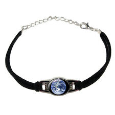 Planet Earth From Space - Novelty Suede Leather Metal Bracelet - Black