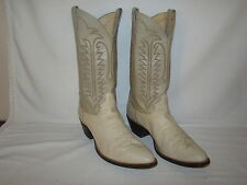 Justin Western Cowboy Boots Ostrich & Leather Cream Ivory Men's 10.5 D Medium