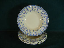 Copeland Spode Blue Fleur de Lys Lis Earthenware Set of 5 Disc Rim Soup Bowl(s)