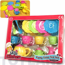PARTY TIME TEA 15pc SET ROLE PLAY GIRLS TOY for DOLLS PICNIC TEAPOT CUP BATH FUN
