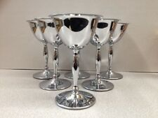 6 Vintage MARTINI Chrome Stainless Bar ware Cocktail Glasses Goblet