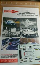 Decals 1/43 Renault 17 Therier Press on Regardless 1974