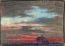 IMPRESSIONIST SKY & LANDSCAPE Pastel Drawing MARCUS ADAMS 1957