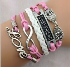 NEW Infinity Love Owl Leather Charm Bracelet plated Silver DIY  Pink  B23