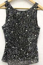 PAPELL BOUTIQUE Evening Black & Silver Sequin & Beaded Cocktail Top, Womens Sz L