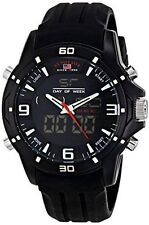 U.S. Polo Assn. Sport Men's US9490 Analog-Digital Watch, Black Silicone Band NEW