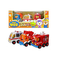Pororo Rescue Play Pull Back Toy Car 3pcs Ambulance + Fire engine + Ladder truck