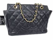 100% AUTHENTIC CHANEL GHW CHAIN SHOULDER TOTE BAG CAVIAR LEATHER BLACK S181