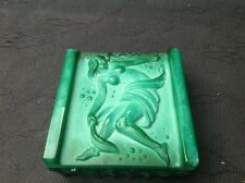 ART DECO MALACHITE TRINKET BOX BY Schlevogt c 1930's SEMI NUDE CARVING ON LID