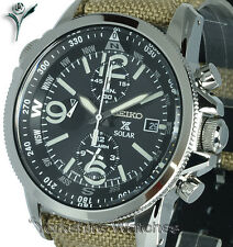 New SEIKO PROSPEX SOLAR CHRONO ALARM BLACK DIAL Tan Fabric Buckle Strap SSC293P1