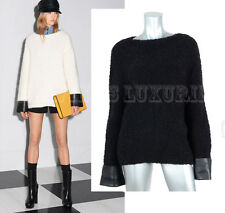 $1,650 GUCCI SWEATER BLACK WOOL BLEND TOP WITH LEATHER CUFFS sz S / SMALL