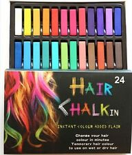 24 Colorful Hair Chalk Temporary Hair Dye Color Kit Pastels Colours Salon Kit