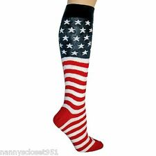 Luxury Patriotic Red White Blue American Flag Knit Knee High Socks-Brand New!