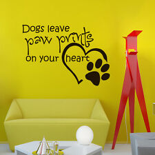 Wall Vinyl Decals Quote About Dogs Leave Paw Print Decal Home Decor Mural Z588
