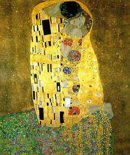 Stunning Oil painting Gustav Klimt - The Kiss Young lovers portraits canvas 36""