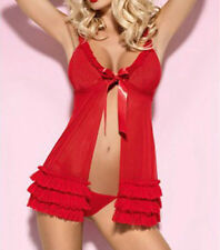 Gorgeous 2pc Red Sheer Baby Doll Babydoll G-String Thong Set Lingerie Sexy 2980