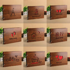 Romance Pairs Love Hearts Wood Photo Album 8 Inch Memory DIY Photos Book New