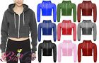 New Womens Ladies Girls Long Sleeve Cropped Zip Hoody Sweatshirt Jacket Top 8-14