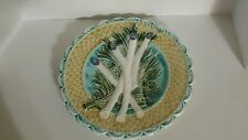 Antique French Keller and Guerin Luneville Barbotine Majolica Asparagus Plate.