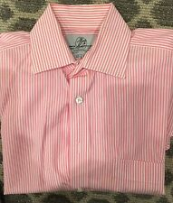 HARVIE AND HUDSON SIZE 15.5 Medium MEN'S DRESS SHIRT PINK & WHITE STRIPED EUC