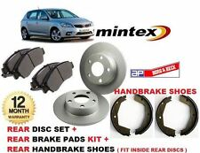 FOR KIA CEED 10/2006-2012 REAR BRAKE DISCS + DISC PADS + HAND BRAKE SHOES KIT