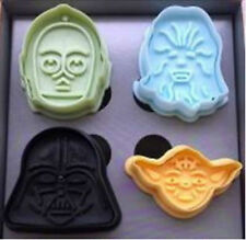STAR WAR 4 Different Character Design PLASTIC COOKIE CUTTER STAMP MOLD SET