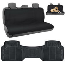 Black Pet Seat Cover Odorless Rubber Floor Mat Liner Combo Pack 2pc Set