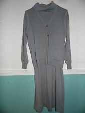 Daniel Hechter  Gray Knit Sweater Dress with Vest Size 9 Turtleneck  Tunic