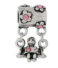 SILVER TONE GIRL ON SWING PINK CRYSTAL FLOWER CHARM BEAD