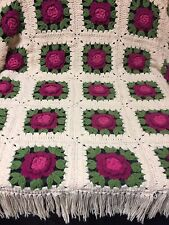 "Crochet Afghan/3D-Flowers-93""x73""-Hot Pink Green And Beige-Beautiful!!."