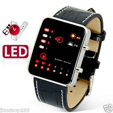UK Women Mens Watch Digital Red LED Sport Wrist Watch Leather Band Binary Watch