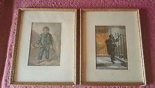 Two George Baxter Prints Child Chimney Sweeps - dated 1853