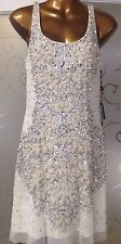 Adrianna Papell Ivory Sequin Beaded Dress Size 8 NWT