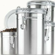 Anchor Hocking 4-Piece Stainless Steel Clamp Canister Set with Clear Lid, New
