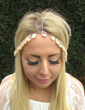 Silver Cream Sea Shell Headpiece Mermaid Crown Head Chain Hair Headband 1690