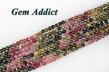 """Natural 3mm Round/Pebble Multi-Color Tourmaline 13.5-14"""" St Average 118 Beads"""