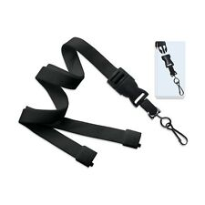"10 Black Tubular  Lanyard w/ Detachable Swivel Hook - 36"" - Breakaway - 2135-464"