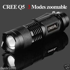 Mini CRÉE Q5 2000LM lampe de poche LED Focus Imperméable 3 Modes Zoomable Torche