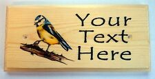 Personalised Blue Tit Plaque / Sign / Gift - House Garden Nanny Grandad Birds