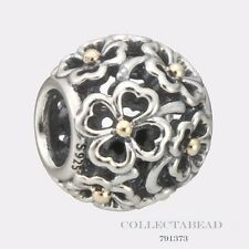 Authentic Pandora Sterling Silver & 14K Gold Evening Floral Bead 791373 *LAST 1*