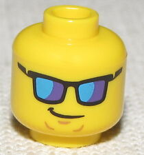 LEGO NEW MINIFIGURE HEAD WITH COLORED SHADES SUNGLASSES AND SIDE SMIRK